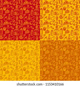 concept illustration of food and grocery seamless patterns