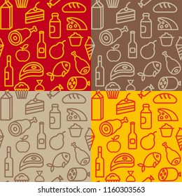 concept illustration of food and grocery seamless patterns in four colors