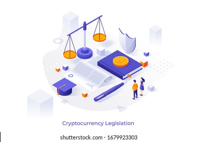 Concept illustration with giant paper agreement, bitcoins, scales of justice and tiny people. Cryptocurrency legislation, legal protection of blockchain technology. Isometric vector template.