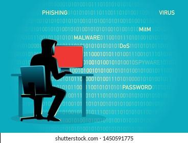 Concept illustration of a hacker behind desktop computer.