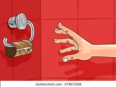 Concept illustration of Hand reaching for empty toilet paper roll