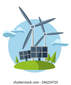 concept illustration with icon of green energy (set)