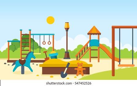 Концептуальная иллюстрация - детская площадка, развлечения в виде горизонтальных баров и качелей, пешеходный парк, детские игрушки. Векторная иллюстрация. Может использоваться в качестве баннеров, коммерческих материалов.