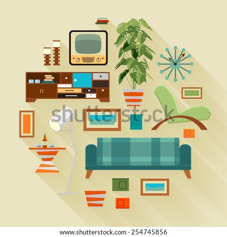 Merveilleux Concept Illustration With The Living Room Stuff. Suitable For Advertising  And Promotion