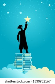 Concept illustration of a man in graduation toga reach out for the stars by using books as the platform