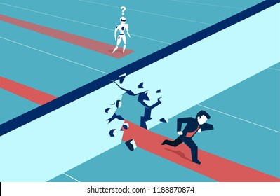 Concept illustration of a man running forward breaking wall in competition with failing robot machine