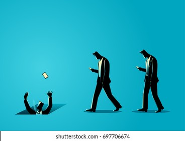 Concept illustration of men with cellular phones, concept for ignorance, social media impact