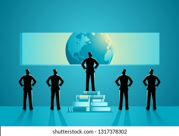 Concept illustration of men with different point of view about the world, man standing on pile of books can see clearest, knowledge, education concept