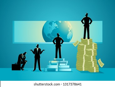 Concept illustration of men with different point of view about the world, man standing on pile of books can see clearest
