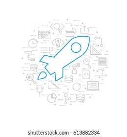 Concept illustration on white background with grey agile software development line icons such as: scrum task board, release, coding, user story, laptop and big rocket release icon