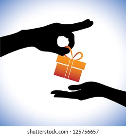 Concept illustration of person giving gift package to the receiver. This graphic represents gifting times like christmas(xmas), birthday, anniversaries and other such occasions