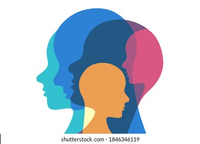 Concept illustration representing  different personalities. Heads of various colors overlapping creating multi exposure effect. Vector.