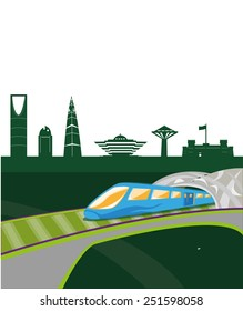 Concept illustration of Riyadh, the capital city of Kingdom of Saudi Arabia with landmarks and a new transportation system which runs mostly underground interconnecting stations within the capital.