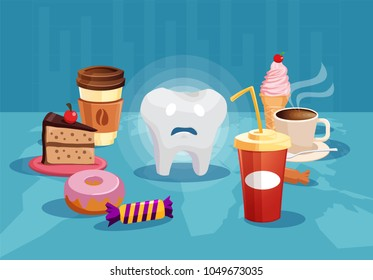 Concept illustration with sad tooth among sweet and bad food having danger of cavity.