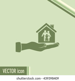 Concept illustration of safety of house and family. Family house