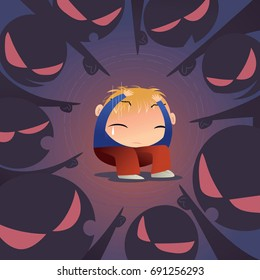 Concept illustration of a scared little boy is being bullied by a group of people