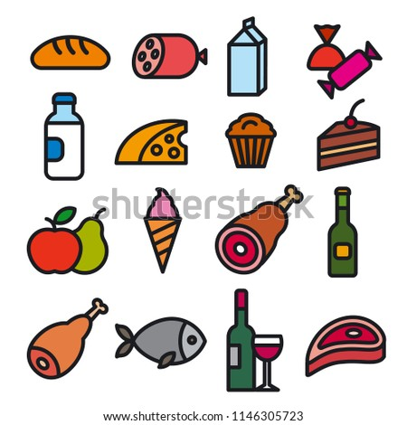concept illustration of set food grocery icons