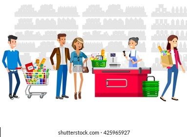 Concept illustration for Shop. Vector character woman cashier in supermarket. Healthy eating and eco food, cash register and buyer