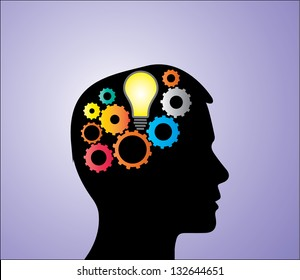 Concept Illustration of Solution or Idea creation: A bright light bulb and bright mechanical gears inside a human head silhouette