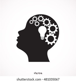 Concept Illustration of Solution or Idea creation: A light bulb and  mechanical gears inside a human head silhouette