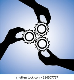 Concept illustration of teamwork and people co-operating for team success. The graphic includes hand silhouettes holding cogwheels together indicating collaboration and joining hands for success