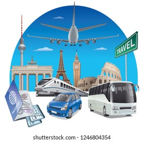 concept illustration of transport travel in europe