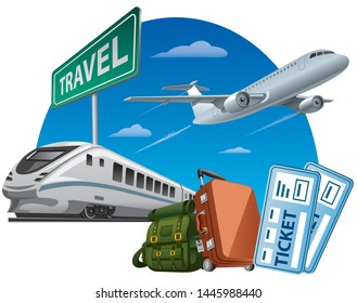 concept illustration of travel around the world, transport and taxi with tickets