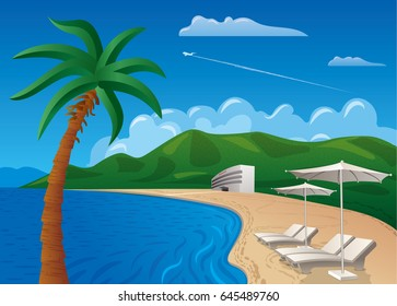 concept illustration of travel and beach resort journey