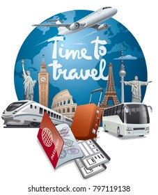 concept illustration of travel and journey around the world with advertising slogan
