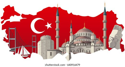 concept illustration of turkish map and flag with famous landmarks