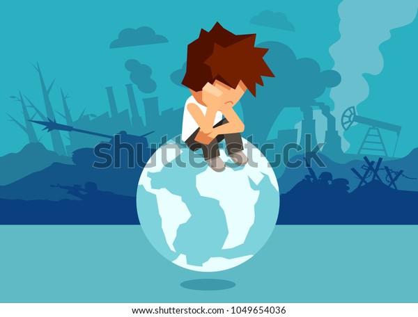 Ejemplo conceptual de niño abandonado infeliz sentado en el mundo y que sufre de cambio climático y guerra y problemas globales.
