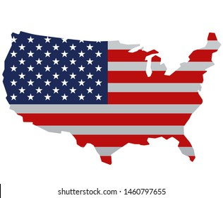 concept illustration of the USA american flag map