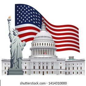 concept illustration of usa flag with landmarks