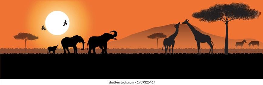 Concept illustration vector silhouettes of wild animals of Africa, elephants, zebra giraffes, against the background of the sun and landscape.