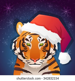 Concept illustration of wild animal tiger in winter holiday headdress for new year party with snow on background. Vector illustration.
