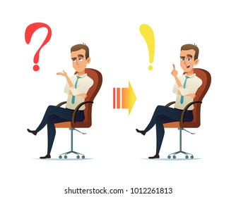 Concept illustration of the young businessman character thinking. The question always has an answer.