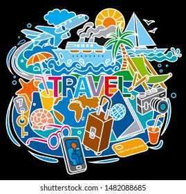 concept illustrations of fun travel doodles with vacations, tourism and cruise