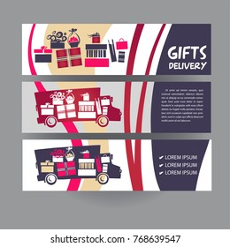 Concept image for fast delivery transportation business carrying a gift package. Sketch vector illustration. Silhouette truck with present in cardboard box. Template logo, banner, poster design.