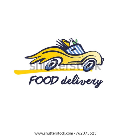 Concept image fast delivery transportation carrying stock vector concept image for fast delivery transportation carrying package with food silhouette of car with wheel maxwellsz