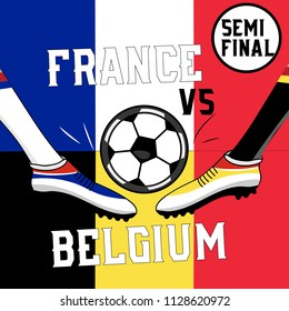 concept image for football championat 2018 semifinals with France and Belgium flags and players foot