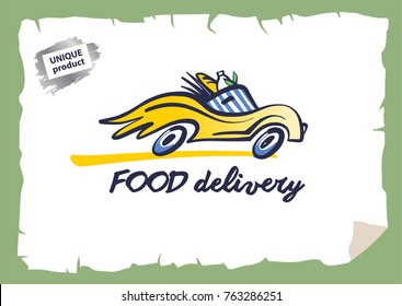 Concept image fast delivery transportation carrying stock vector concept image template logo design for fast transportation sketch vector illustration vintage style badge maxwellsz