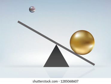 Concept of imbalance of forces with a large ball that catapults a small ball under the effect of its weight