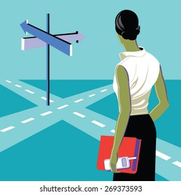 Concept of important choices of a businesswoman