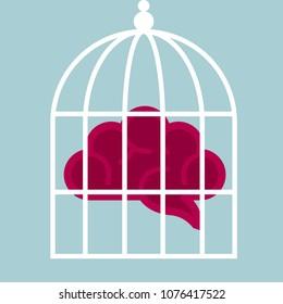 Concept of imprisoned mind, brain in a birdcage.