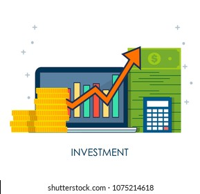 Concept of income increase, high return on investment. Vector flat icon