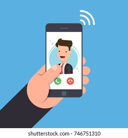 Concept of an incoming call on a mobile phone. Businessman or manager calls on the smartphone. Accept or reject the incoming call. Vector flat illustration.