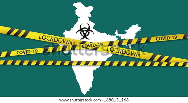 Concept of India national lockdown due to coronavirus crisis covid-19 disease. India announce movement control order emergency state restrictions to combat the spread of the virus.