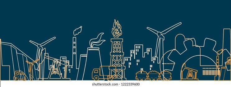 Concept of industrial plant and manufacture building. Energy and Power icons set. Energy generation and heavy industry. Modern brochure, report or cover design template. Thin lines style