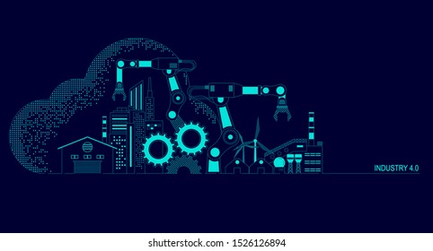 concept of industry 4.0 technology, automation system with cloud computing
