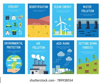 Concept infographic cards at ecology theme. Eco labels with place for your text. Bio ecological infographic, environment banner, desertification and acid rain. Vector illustration